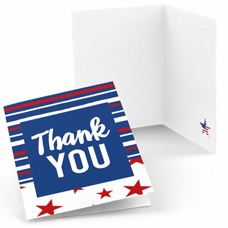 Stars & Stripes - Memorial Day Patriotic Party Thank You Cards (8 count)