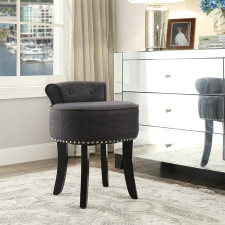 - Inspired Home Elenna Linen Contemporary Vanity Stool