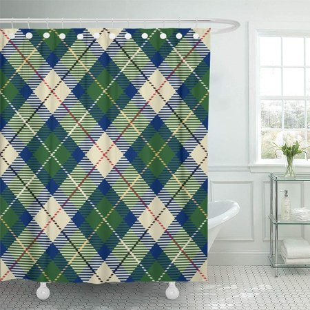 BSDHOME Tartan Red Black Blue Green Yellow and White Plaid Flannel Patterns Trendy Tiles Bathroom Shower Curtain 66x72 inch - image 1 de 1