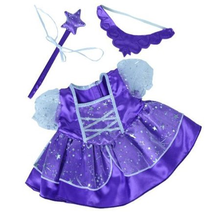 Dressed Teddy Bear - Purple Fairy Princess Dress w/Wand Teddy Bear Clothes Outfit Fits Most 14