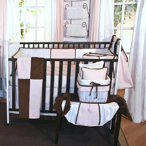 Brandee Danielle Pink Chocolate 4 Piece Crib Bedding Set