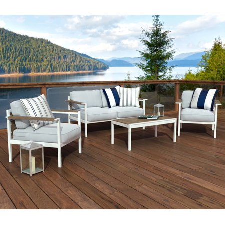 Zinus 4 Piece Outdoor Steel and Wood Framed Conversation Set with (4 Outdoor Wood)