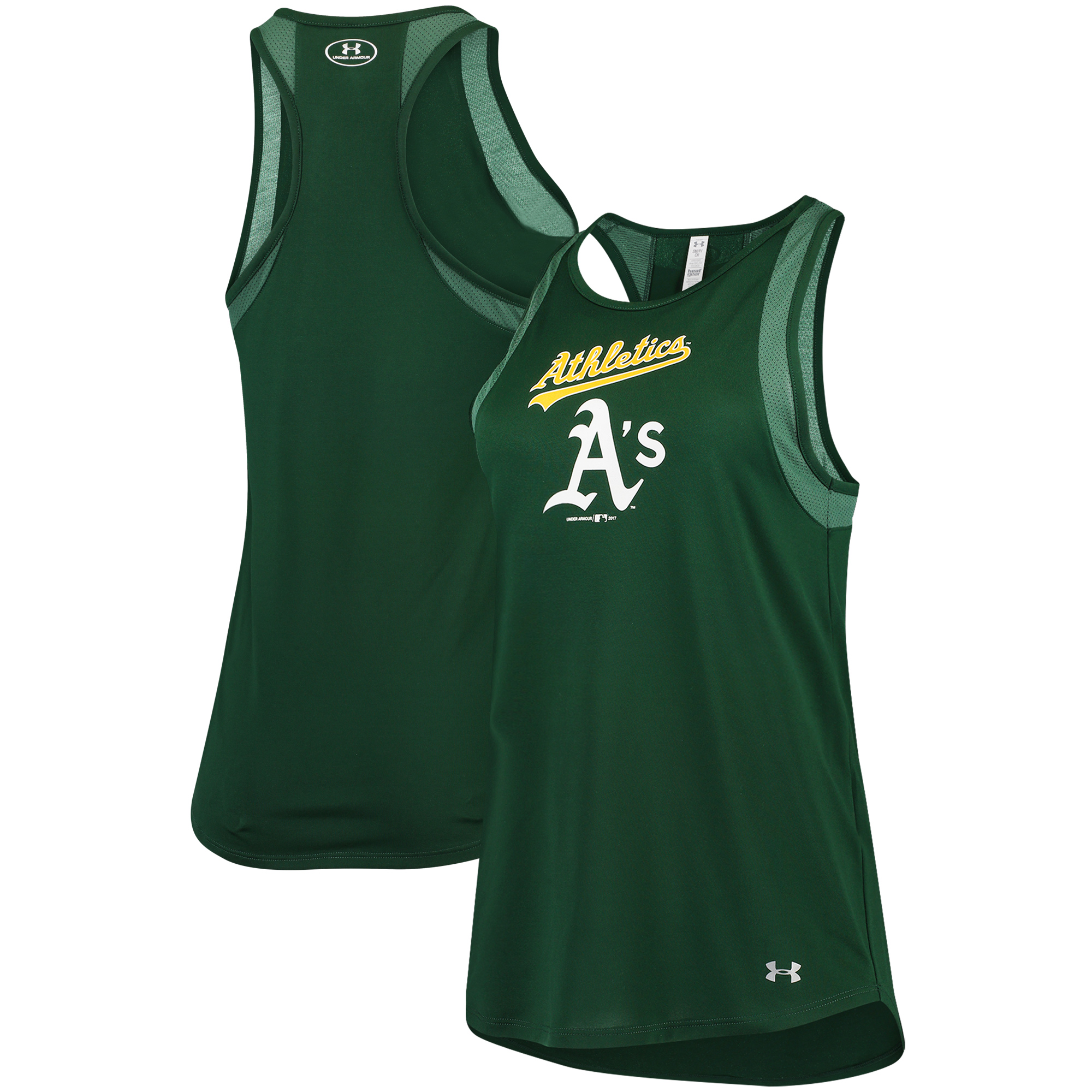 Oakland Athletics Under Armour Women's Pointelle Mesh Performance Tank Top - Green