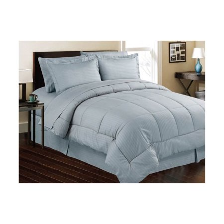 Manhattan Lights Embossed 8 Piece Bed In A Bag Queen Blue