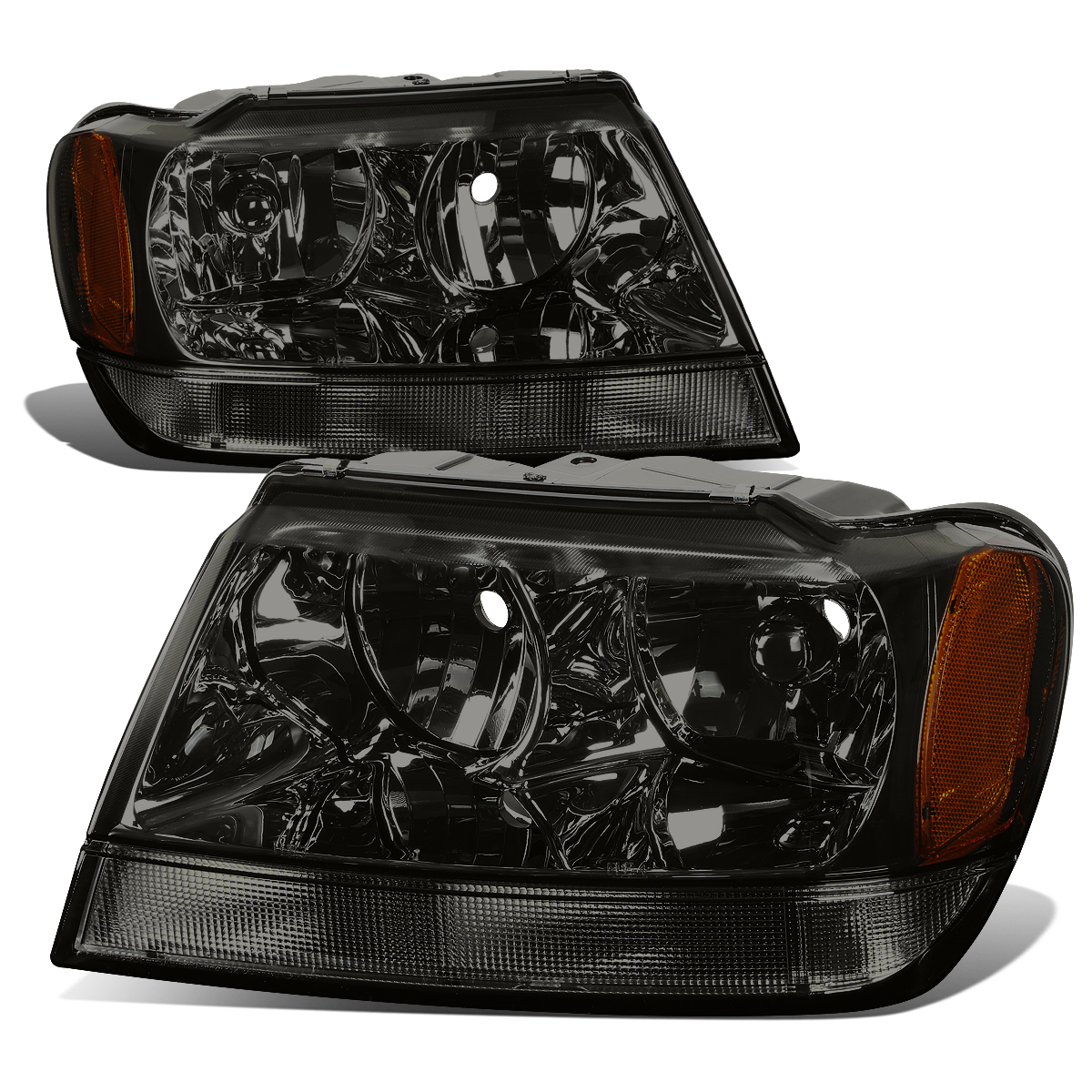 For 99-04 Jeep Grand Cherokee Smoked Housing Amber Corner Headlight Headlamps WJ 00 01 02 03 Left+Right