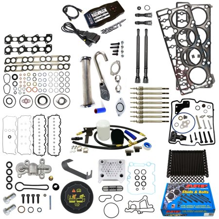 Ford 6.0L 6.0 Powerstroke Kit - 2006-2010 - Tuner ARP Studs 20MM Head Gaskets Oil Cooler Stand Pipes Coolant Kit Cap Glow Plugs STC Blue Spring Valve Cover Rocker Box Intake Exhaust Gaskets