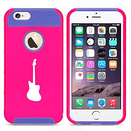 Apple Iphone 5C Shockproof Impact Hard Case Cover Bass Guitar  Hot Pink Blue  Mip