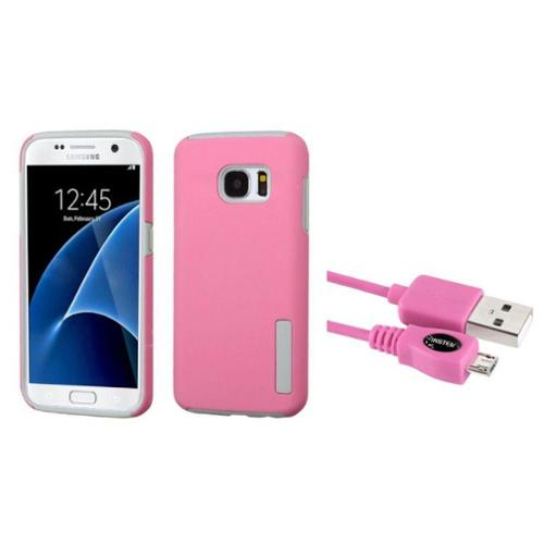 Insten Hard Hybrid Rubber Coated Case For Samsung Galaxy S7 - Pink/Gray (+ USB Cable)