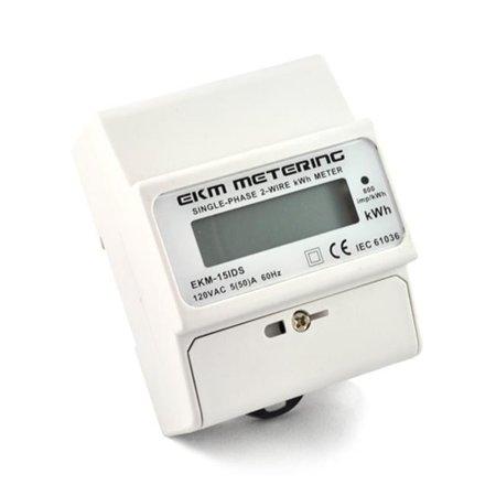 - EKM Metering 120 Volt Pass-Through kWh Meter, 2-Wire (1 hot, 1 neutral), 50A, 60Hz, EKM-15IDS