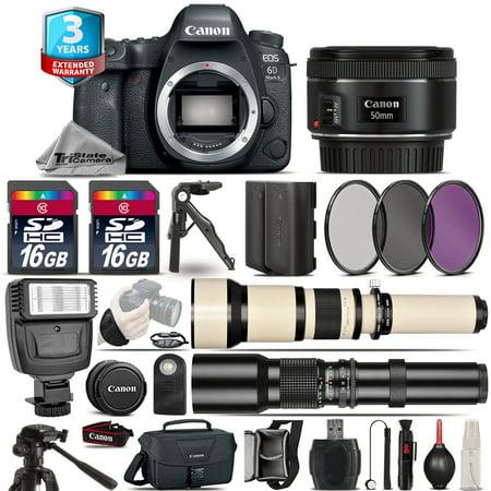 Canon EOS 6D Mark II Camera + 50mm - 3 Lens Kit + Flash + EXT BAT + 3yr Warranty