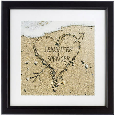 personalized heart in sand framed print