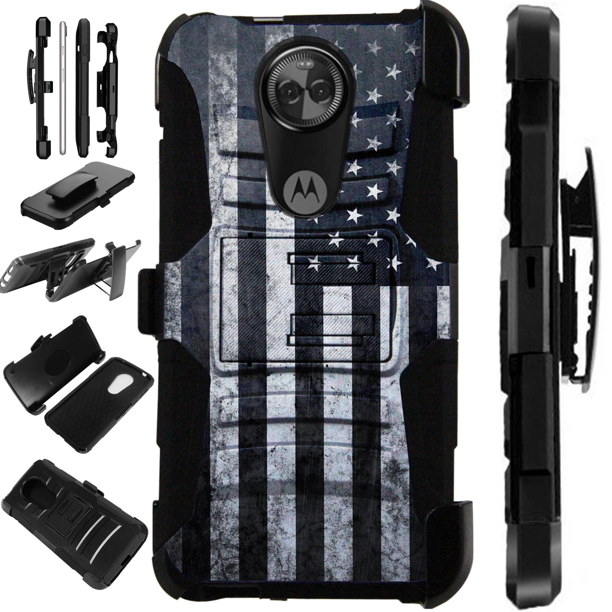 For Motorola Moto E5 Plus | Moto E5 Supra Case Armor Hybrid Silicone Cover Stand LuxGuard Holster (Gray US Flag)