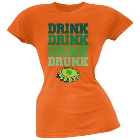 St. Patricks Day - Drink Drink Drunk Orange Juniors Soft T-Shirt