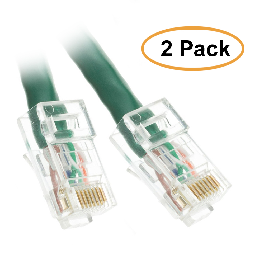 C&E Cat6 Green Ethernet Patch Cable, Bootless, 3 Feet, 2 Pack