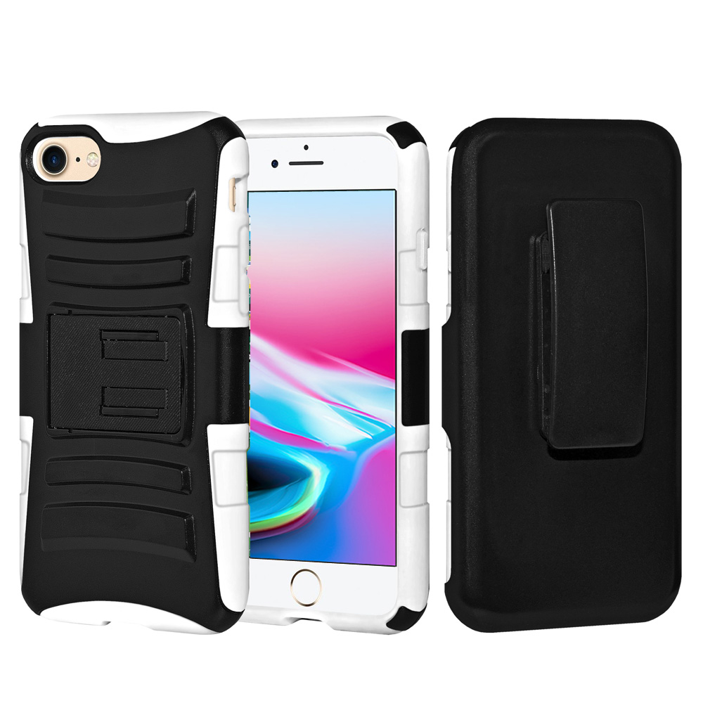 iPhone 8 Heavy Duty Case, Ultra Thin Slim Fit Dual Layer Drop Protection Soft Silicone Case Anti Shock Hard Shell Cover with Kickstand and Belt Clip Holster for iPhone 8 - Black/ White