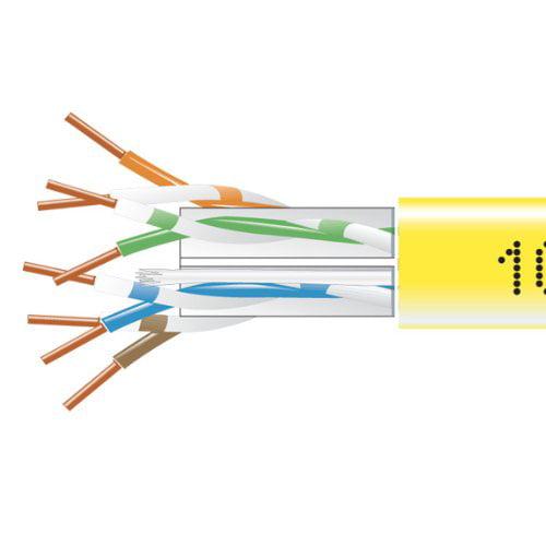 Black Box GigaTrue CAT6 550-MHz Solid Bulk Cable - Plenum Yellow 1000-ft.