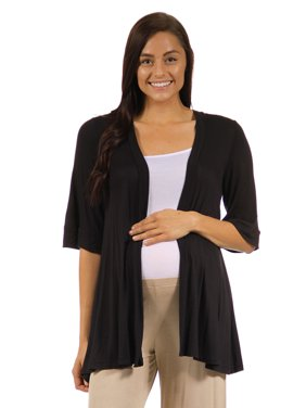 24seven Comfort Apparel Elbow Length Sleeve Open Front Maternity Cardigan
