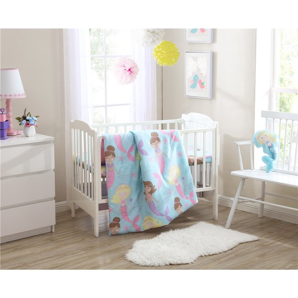 3PC CRIB SEA PRINCESS BEDDING SUPER SOFT COZZY CHARMING SET NEW BORN BABY ROOM KIDS GIRL BOY TODDLER NURSERY INCLUDES : 1 COMFORTER, 1 SHEET & DECORATIVE PILLOW