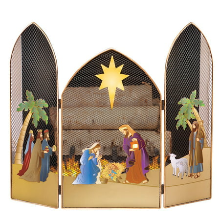 Holiday Nativity Fireplace Screens, Multi