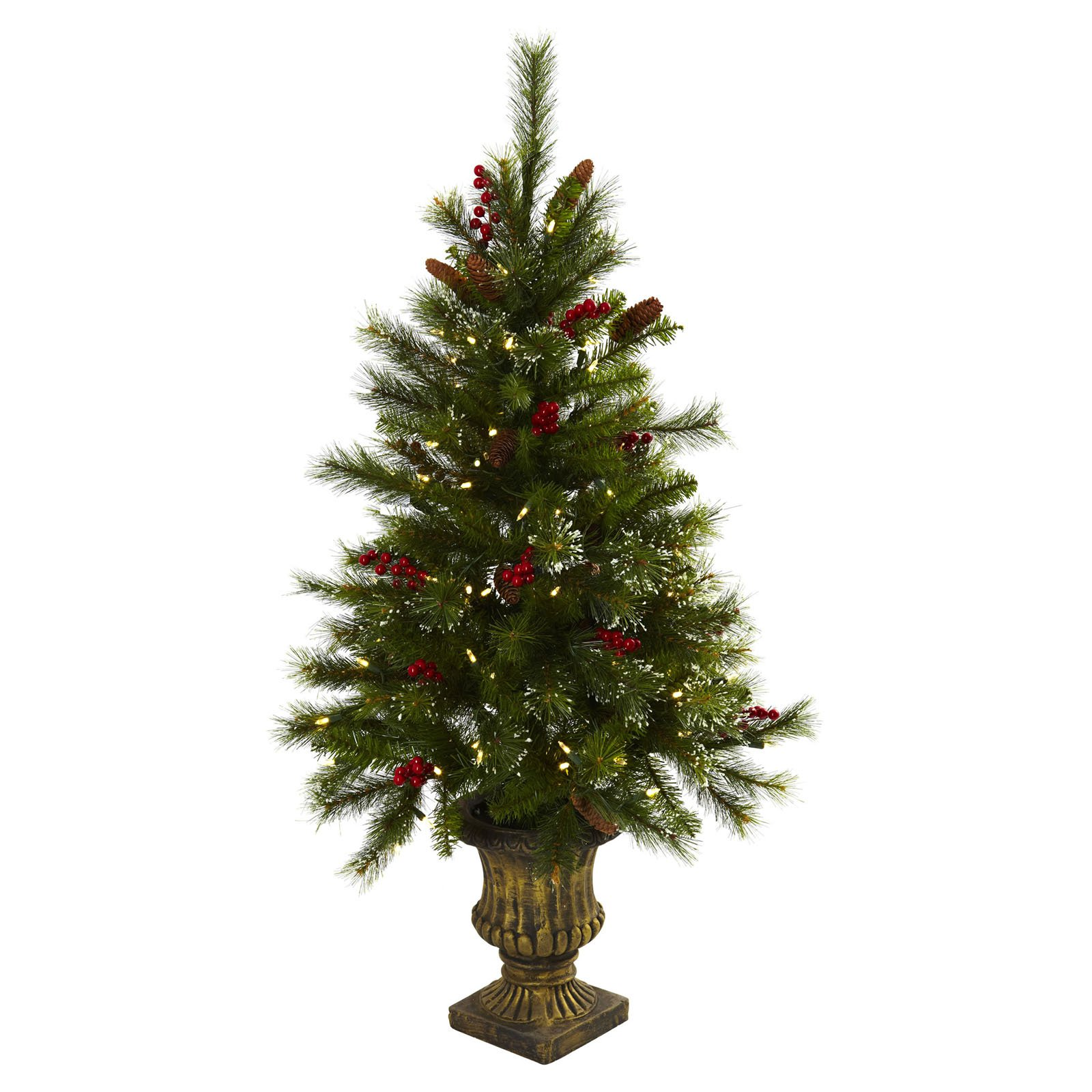 Nearly Natural 4 ft. Pre-lit Christmas Tree with Berries, Pine Cones & Urn - Clear Lights