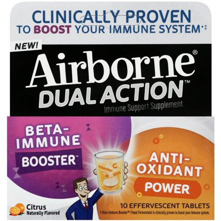 4 Pack   Airborne Dual Action Beta Immune Booster   Anti Oxidant Immune Support Supplement  Citrus Effervescent Tablets