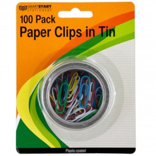 Bulk Buys GR131-24 Plastic Coated Paper Clips in Round Tin - 24 Piece