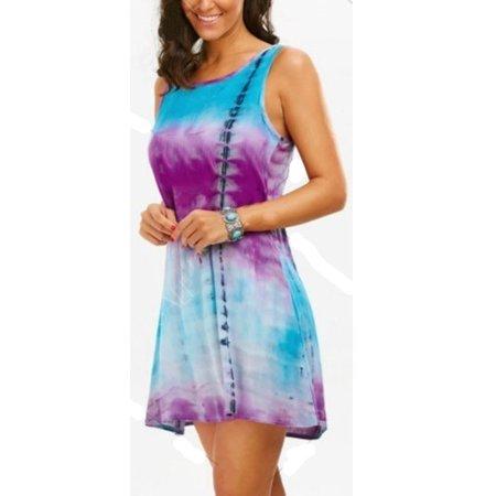 - Women's Fashion Sleeveless O-neck Tie Dye Tank Top Dress Lace Patchwork Cotton Mini Dress