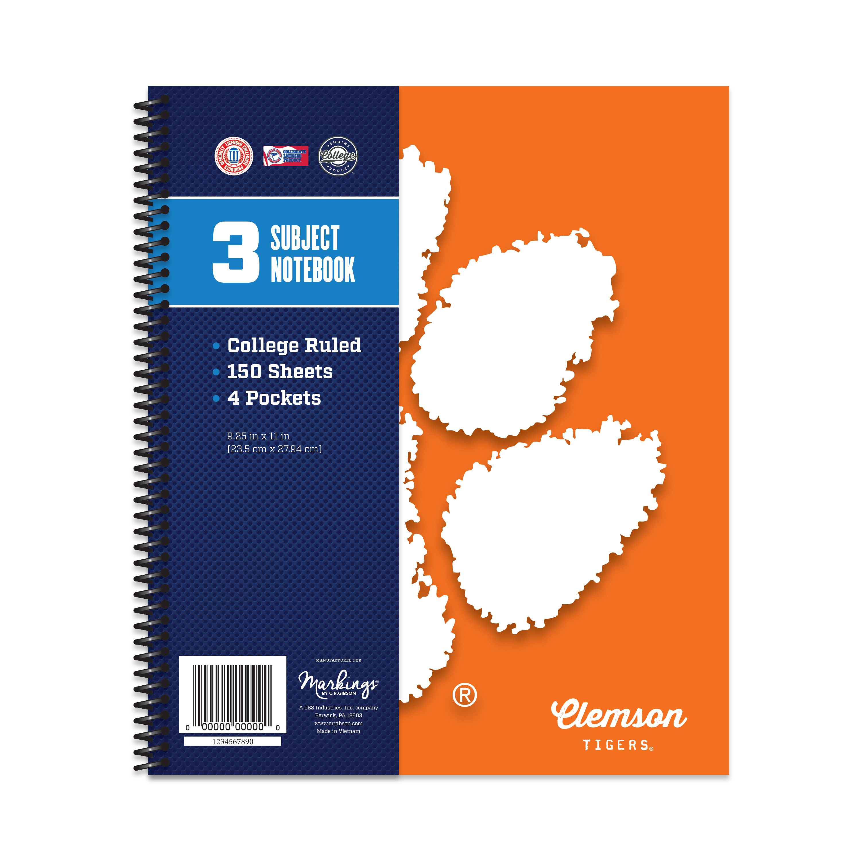 CLEMSON TIGERS CLASSIC 3-SUBJECT NOTEBOOK
