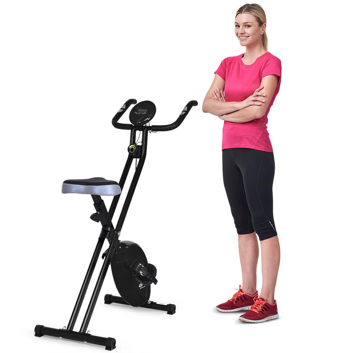Costway Folding Magnetic Exercise Bike LCD Display 3.5lbs Flywheel Resistance Adjustable