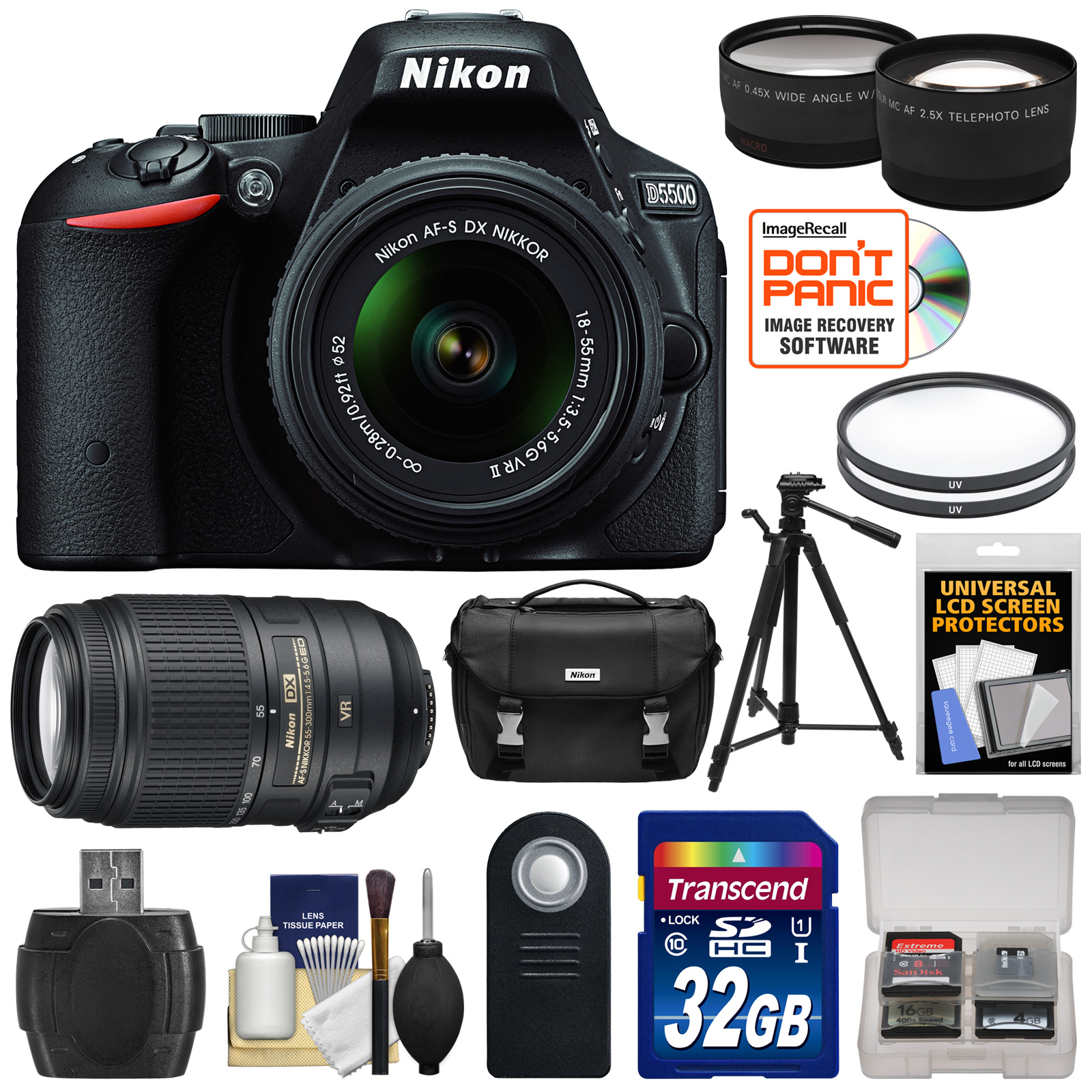 Nikon D5500 Wi-Fi Digital SLR Camera & 18-55mm VR DX Lens (Black) - Factory Refurbished with 55-300mm VR Lens + 32GB Card + Case + Filters + Tripod + Tele/Wide Lens Kit 1546B-89935-Kit