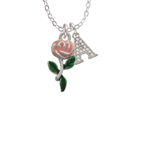 """Pink Rose Flower - A - Crystal Initial Sophia Necklace, 18""""+1"""""""
