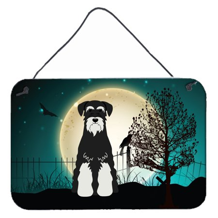 Scary Homemade Halloween Signs (Halloween Scary Standard Schnauzer Salt and Pepper Wall or Door Hanging Prints)