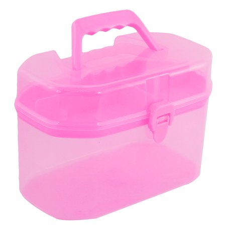 unique bargains pink plastic 4 compartments rings jewelry storage box organizer. Black Bedroom Furniture Sets. Home Design Ideas