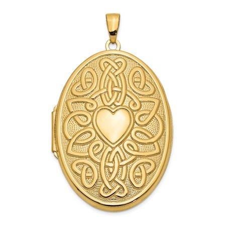 14k Yellow Gold Irish Claddagh Celtic Knot Heart 38mm Oval Photo Pendant Charm Locket Chain Necklace That Holds Pictures Fine Jewelry Gifts For Women For Her - image 8 de 8