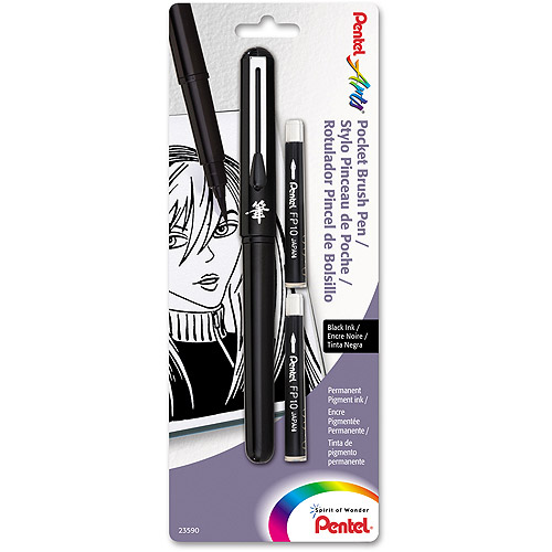 Pentel Pocket Brush Pen, Black, 1/pkg