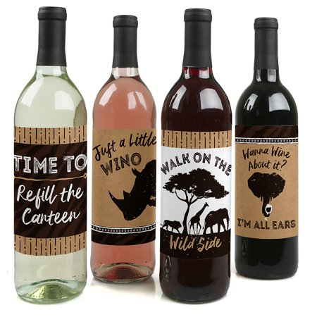 (Wild Safari - African Jungle Adventure Birthday Party or Baby Shower Wine Bottle Label Stickers - Set of 4)