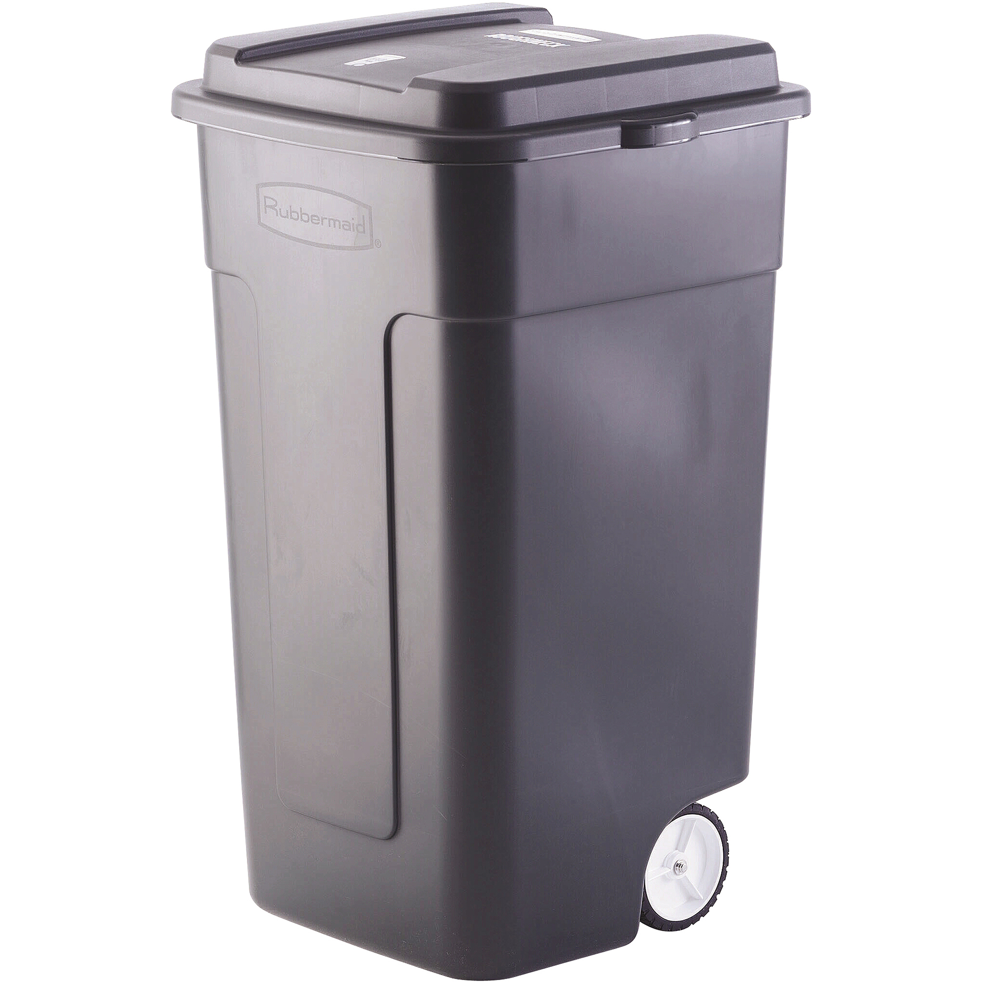 rubbermaid 50-gallon wheeled roughneck trashcan, black - walmart