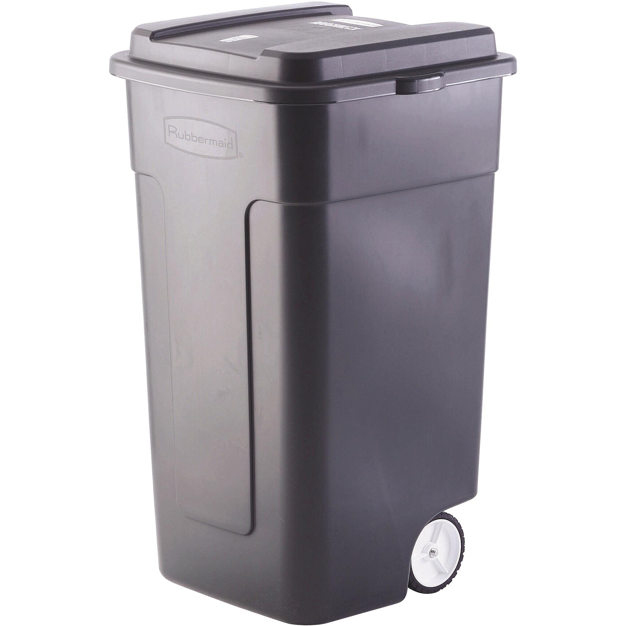 Rubbermaid 50-Gallon Wheeled Roughneck Trashcan, Black, FG285100BLA