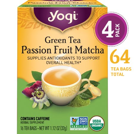 (Pack of 4) Yogi Tea, Green Tea Passion Fruit Matcha Tea, Tea Bags, 16 Ct, 1.12 OZ