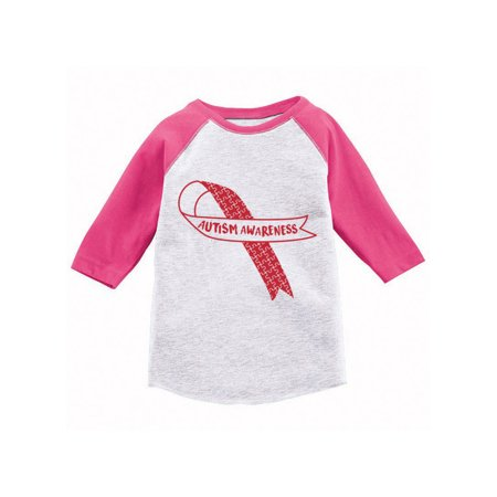 Awkward Styles Autism Awareness Red Ribbon Raglan Shirt Autism Awareness Toddler Jersey Shirt Autism Baseball Shirts for Kids Autism Support Ribbon Shirts for Kids Autism Red Ribbon 3/4 Sleeve Shirt](Rex Kid)