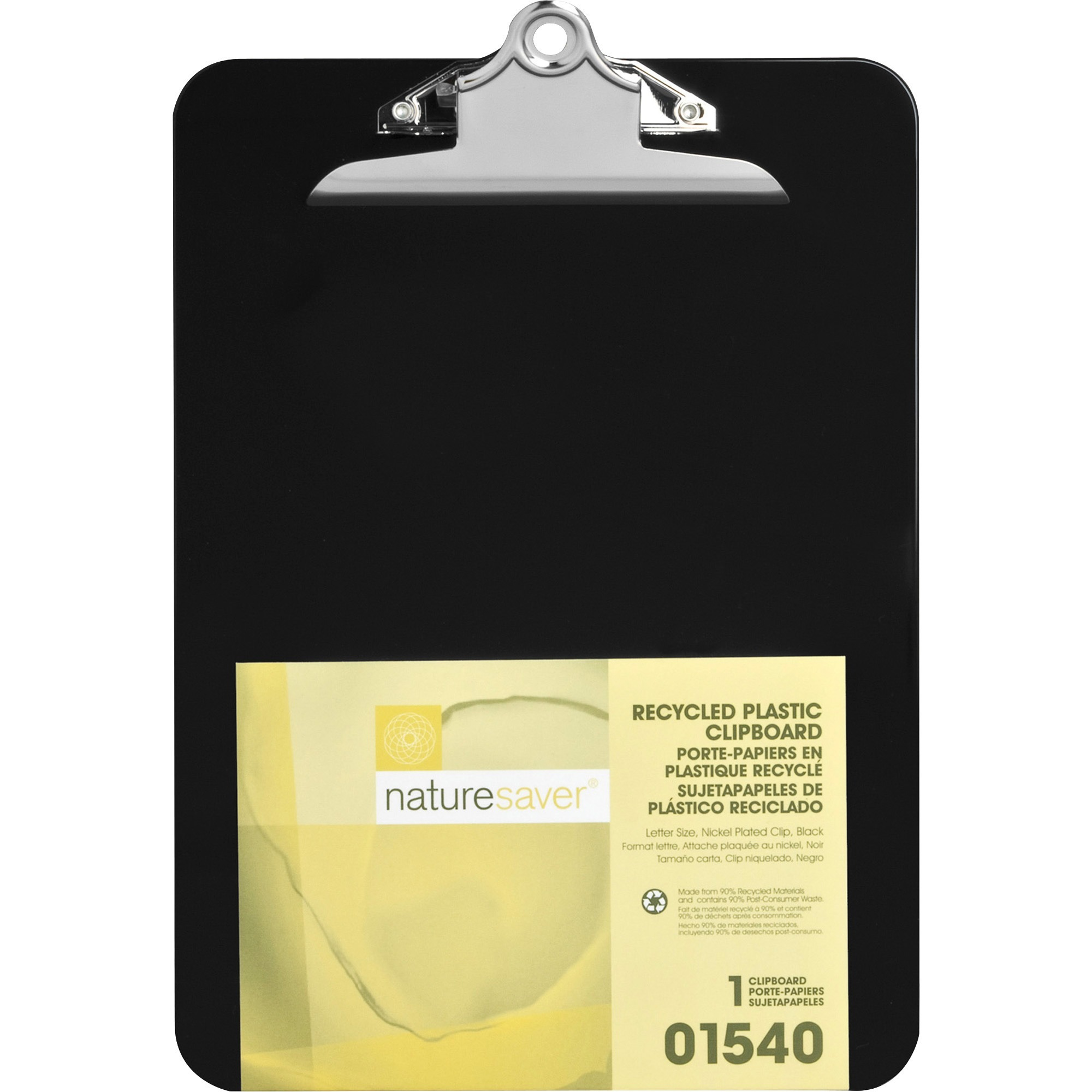 Nature Saver, NAT01540, Recycled Plastic Clipboards, 1 Each, Black