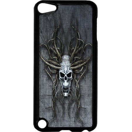 Skull Hard Plastic Case (Grungy Devil Skull   - Hard Black Plastic Case Compatible with the Apple iPod Touch 6th Generation - iTouch 6 Universal)