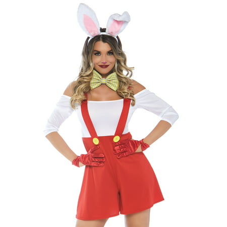 Roger Rabbit Jessica Rabbit Costumes (Leg Avenue Women's 3 PC Roger Rabbit Costume, Multi,)