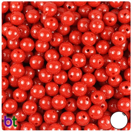 BeadTin Red Opaque 8mm Round Craft Beads (300pcs) 8mm Carnelian Beads