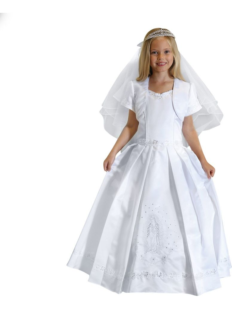 Angels Garment Girls White Satin Sequin Pearl Bolero Communion Dress 7-18