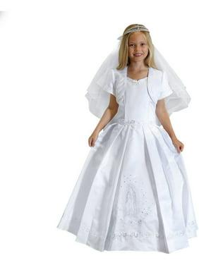 233e0601d502 Product Image Angels Garment Girls White Satin Sequin Pearl Bolero  Communion Dress 7-18