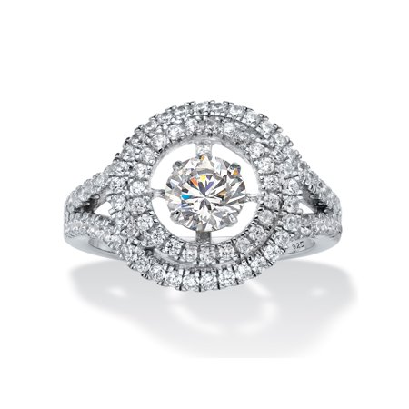 8de4037f2002f5 Round CZ in Motion Cubic Zirconia Double Halo Ring 1.74 TCW in Platinum over  Sterling Silver