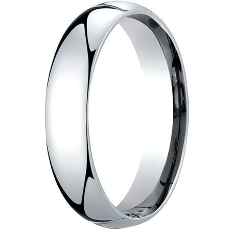 Mens Platinum, 5mm Slightly Domed Standard Comfort-Fit Wedding Band