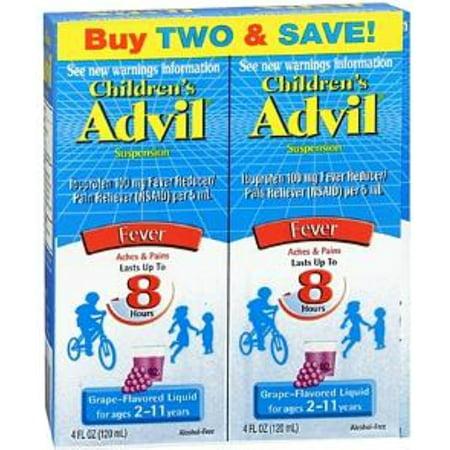 Advil La fièvre des enfants Ibuprofène Suspension liquide, Raisin 8 oz, Twin Pack (pack de 2)
