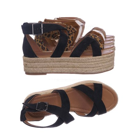 Fatima1 by Bonnibel, Wrapped Espadrille Jute Flatform Sandal - Summer Open Toe Braided - Braided Espadrilles